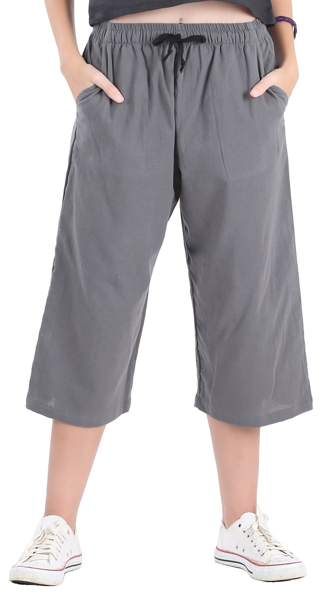 CandyHusky Womens Loose Elastic Waist Cotton Casual Capri Wide Leg Palazzo Pants (2XL/3XL, Dark Grey)