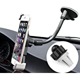 Car Mount Cell Phone Holder for Car 3-in-1 Universal Mobile Mount Air Vent Cradle Windshield Dashboard Long Arm Smartphone Holder for iPhone X/8/7/7P/6S/6P/5S Samsung Galaxy S5/S6/S7/S8 Nexus and More