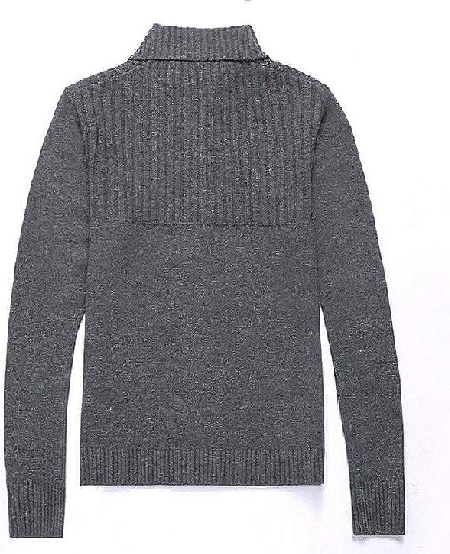 YUELANDE Men Solid Color Zip-Up Cardigans Stand Collar Solid Sweatshirt