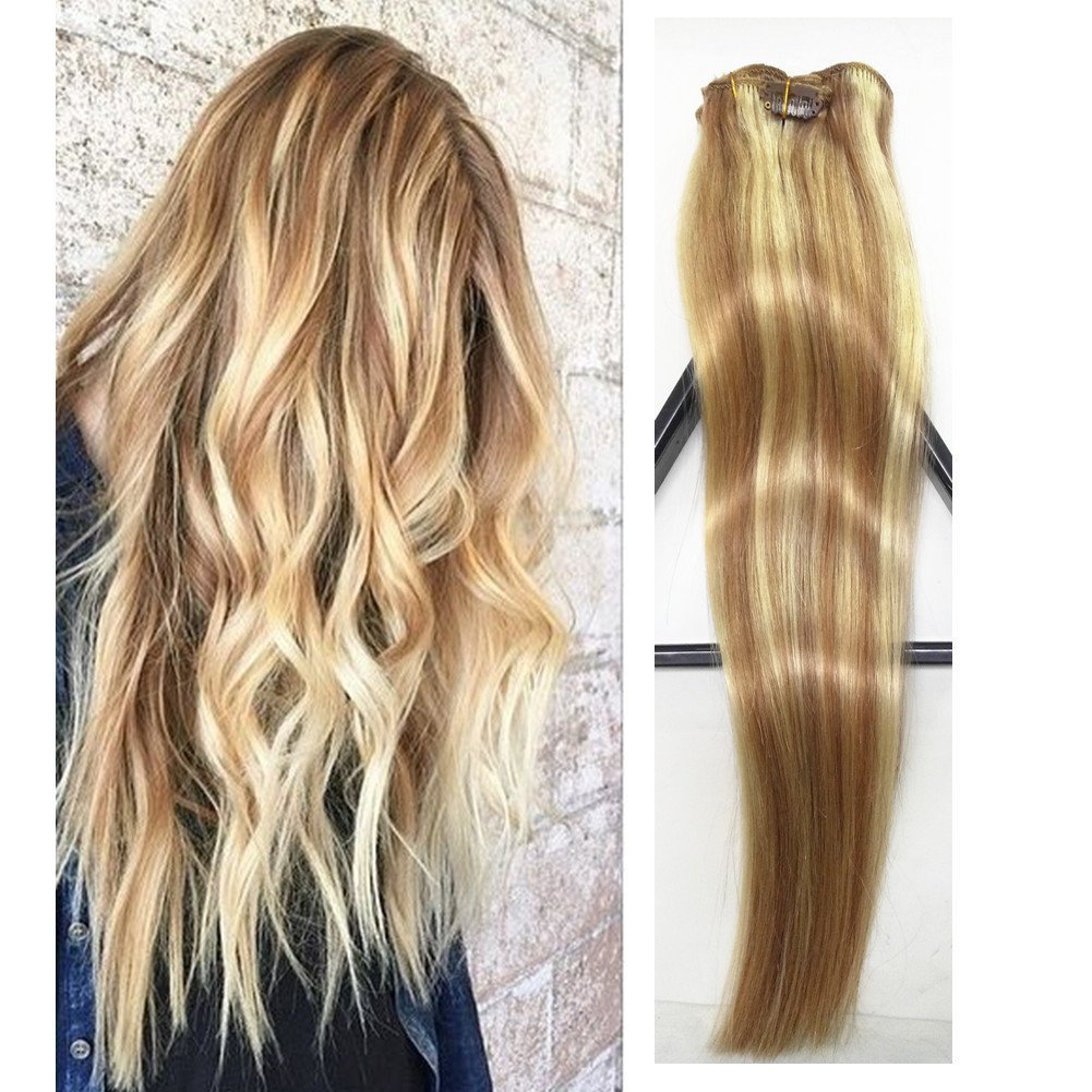 Amazon Human Hair Extensions Clip In Light Brown To Blonde