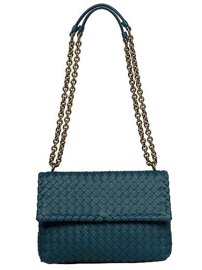 8662fcbf413 Amazon.com: Bottega Veneta Women's 386498Vo0ad4400 Blue Leather Shoulder Bag:  BlackArc