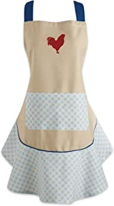 """DII CAMZ35784 Cotton Women Kitchen Apron with Pocket and Extra Long Ties, 28.5 x 26"""", Cute Ruffle Apron for Cooking, Baking, Perfect Mother's Day, Hostee and Housewarming Gift-Red Rooster"""