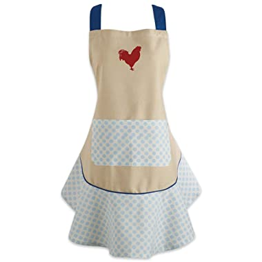 DII Cotton Women Kitchen Apron with Pocket and Extra Long Ties, 28.5 x 26 , Cute Ruffle Apron for Cooking, Baking, Perfect Mother's Day, Hostee and Housewarming Gift-Red Rooster