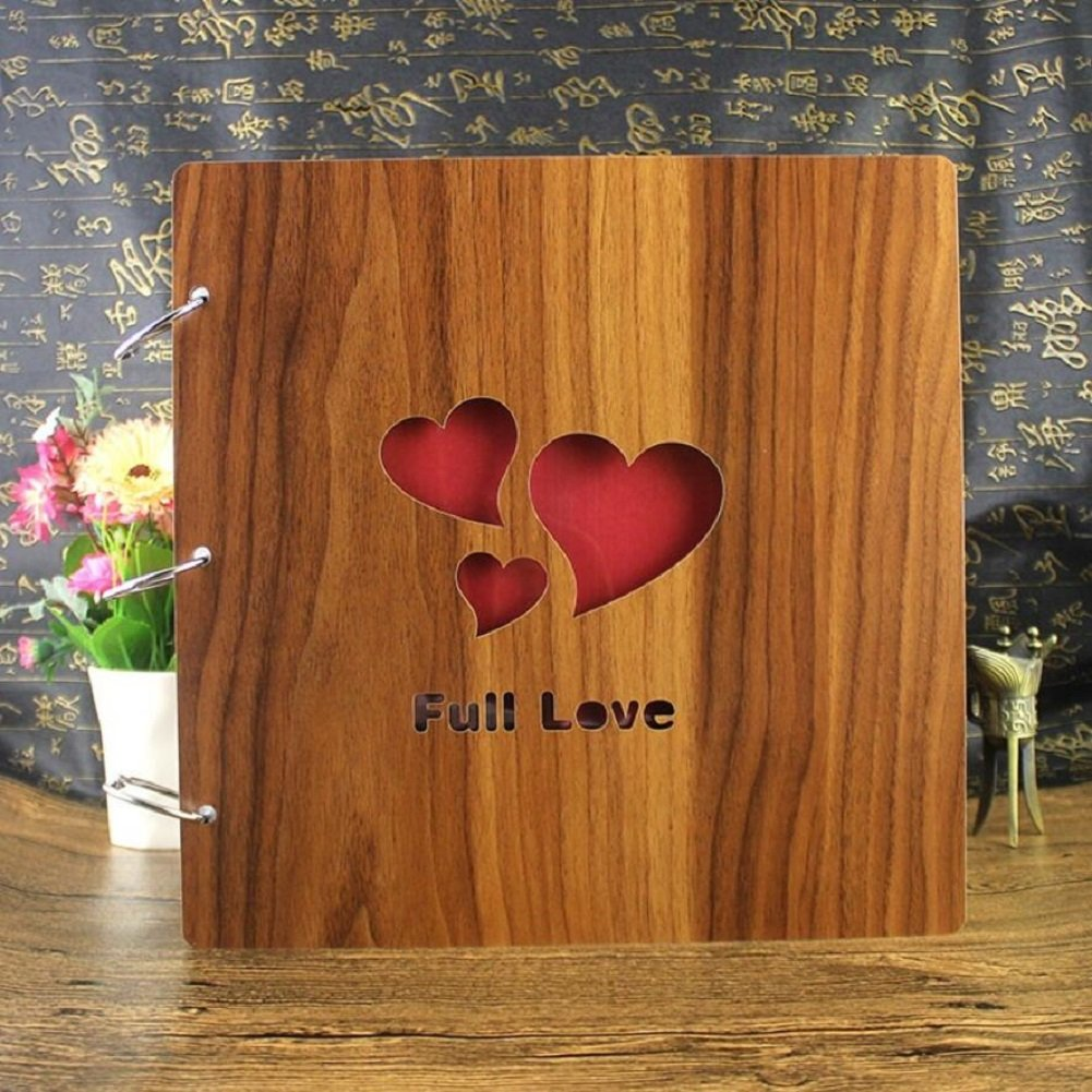 LJ&L Retro style solid wood cover photo album, DIY self-adhesive album graffiti book, couple anniversary gift and birthday present,B