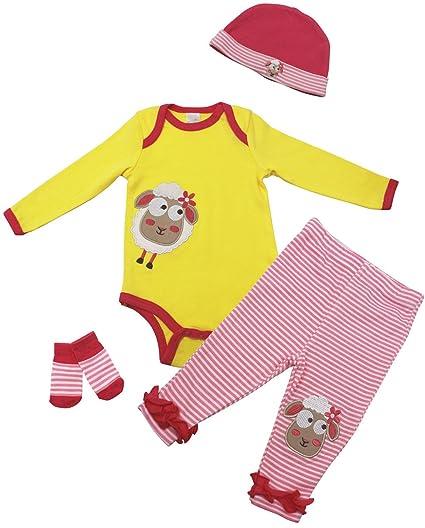 Vine Body para Bebé Pantalones Sombrero Calcetines 4 Piezas Bebé Peleles Set, 3 Meses