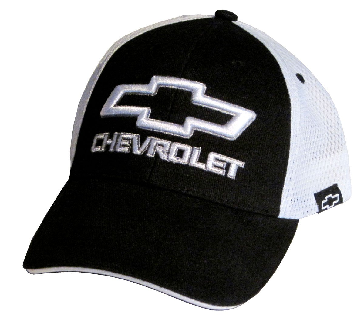 2 Items 1 Hat and 1 Driving Style Decal Gregs Automotive Chevrolet Bowtie Hat Cap in Black//White Mesh Back Chevy Bundle with Decal