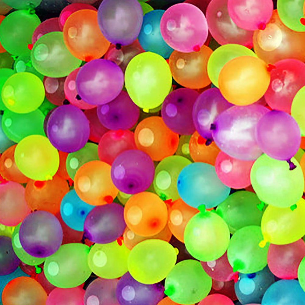 Cool & Fun {500 Big Pack} of 3'' - 6'' Inch ''Standard Size'' Water Balloon Bomb Grenades Made of Latex Rubber w/ Neon Design {Pink, Yellow, Green, Blue & Purple} w/ Screw On Hose Attachment