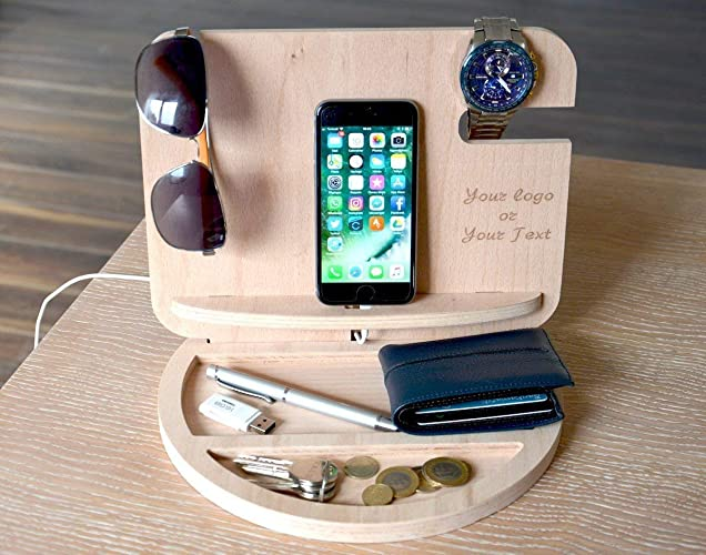 3f768bf5a7a6 Amazon.com  Fathers Day gifts PERSONALIZED MENS GIFT Gifts for Dad wood  docking station gift ideas for men boyfriend gift Gifts for Him Valet   Handmade