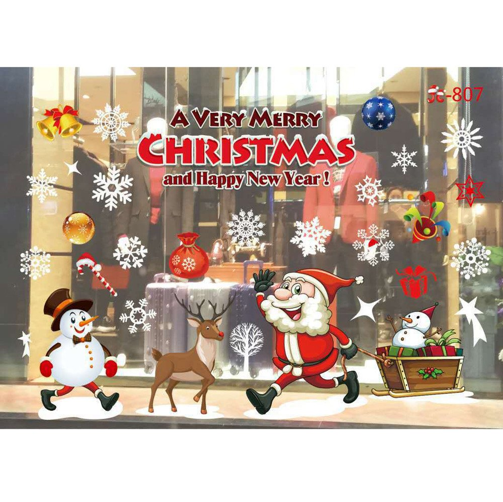 ZOMUSA Clearance Festival Christmas Glass Wall Decoration Removable Wall Sticker Christmas Tree Gifts Socks Santa Claus Print Wall Decals (G)