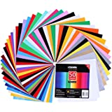 Adhesive Vinyl Sheets - 40 Assorted Colors(Glossy,Matte,Brushed and Metallic) Self Vinyl Craft Paper with 2 Clear Transfer Tap for Cutters (50 Pack)