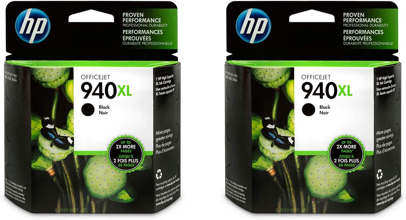 HP 940XL | Ink Cartridge | Black | C4906AN - 2 Pack