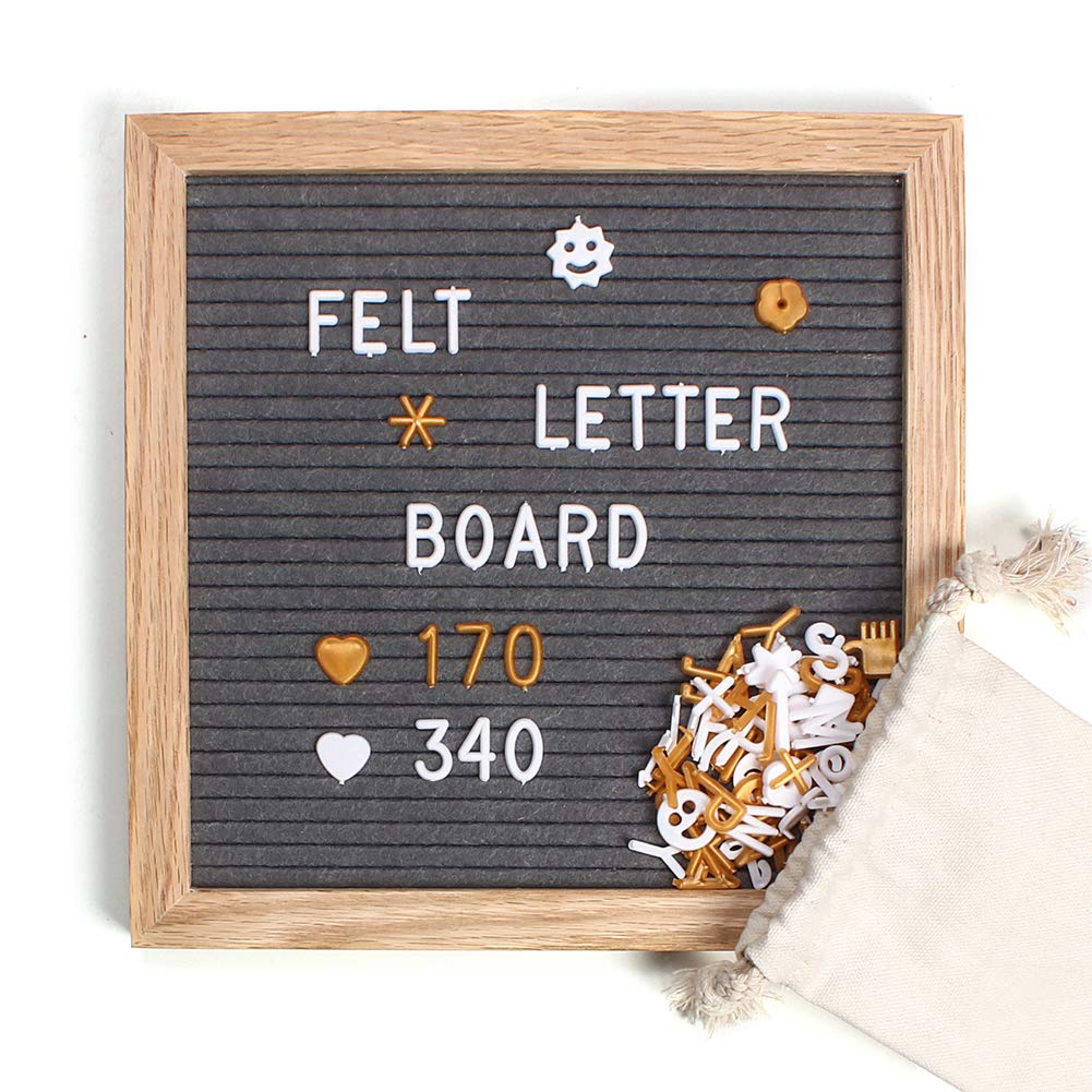 Felt Letter Board 10x10 Inch, Changeable Letter Board Gray Message Boads Include 510 Gold & White Characters, Bag, Stand