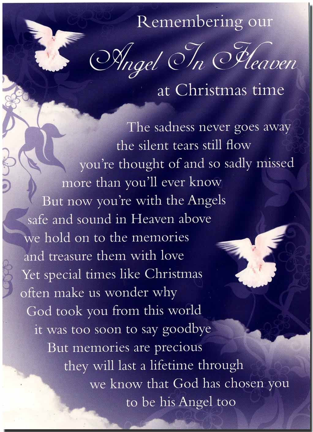 grave card christmas memories of an angel in heaven free card