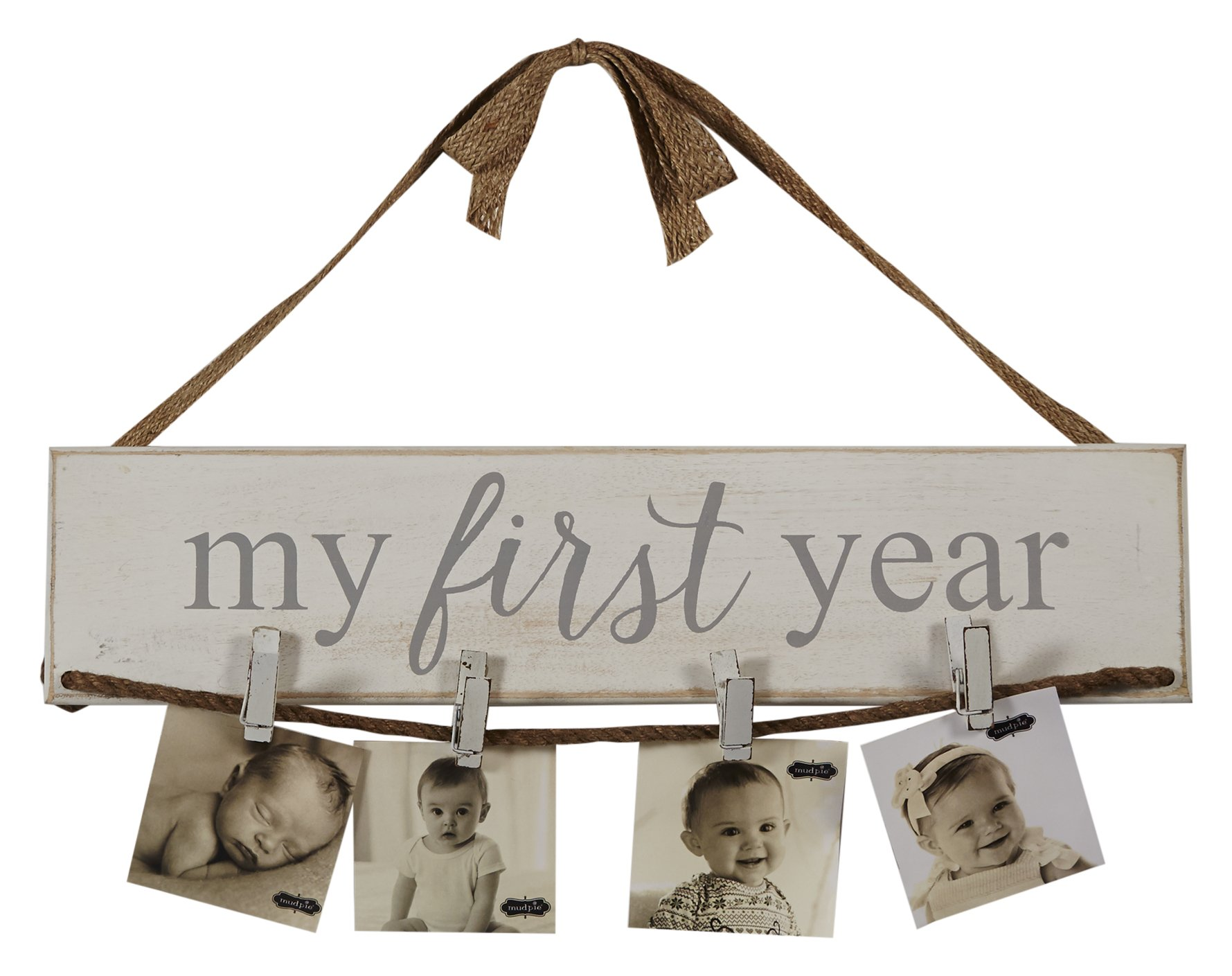 Mud Pie My First Year Photo Holder Distressed Nursery Decor