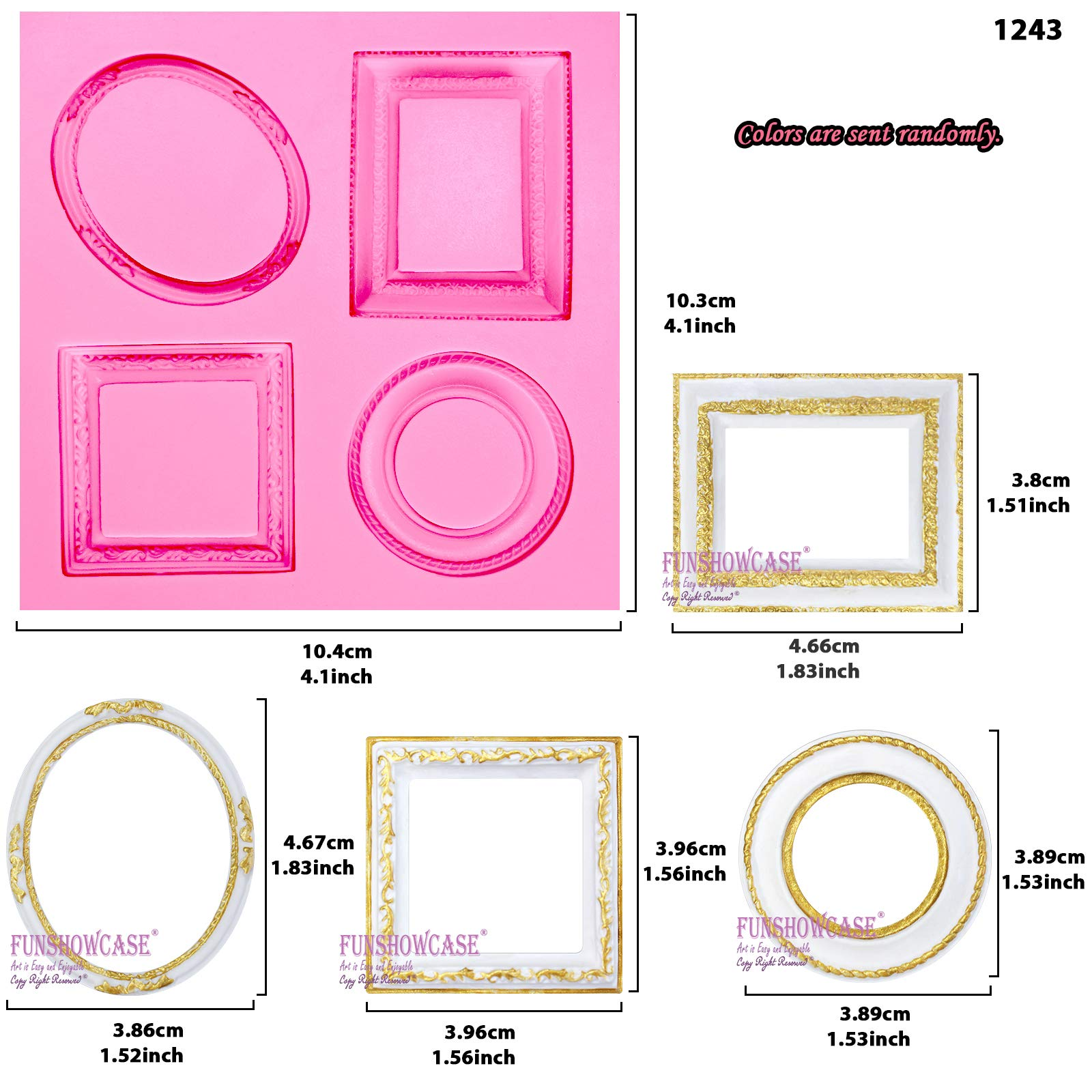 Funshowcase Mirror Frame Candy Silicone Mold, 3 in Set for Sugarcraft, Cake Decoration, Cupcake Topper, Chocolate, Fondant, Jewelry, Polymer Clay, Epoxy Resin, Crafting Projects by FUNSHOWCASE (Image #3)