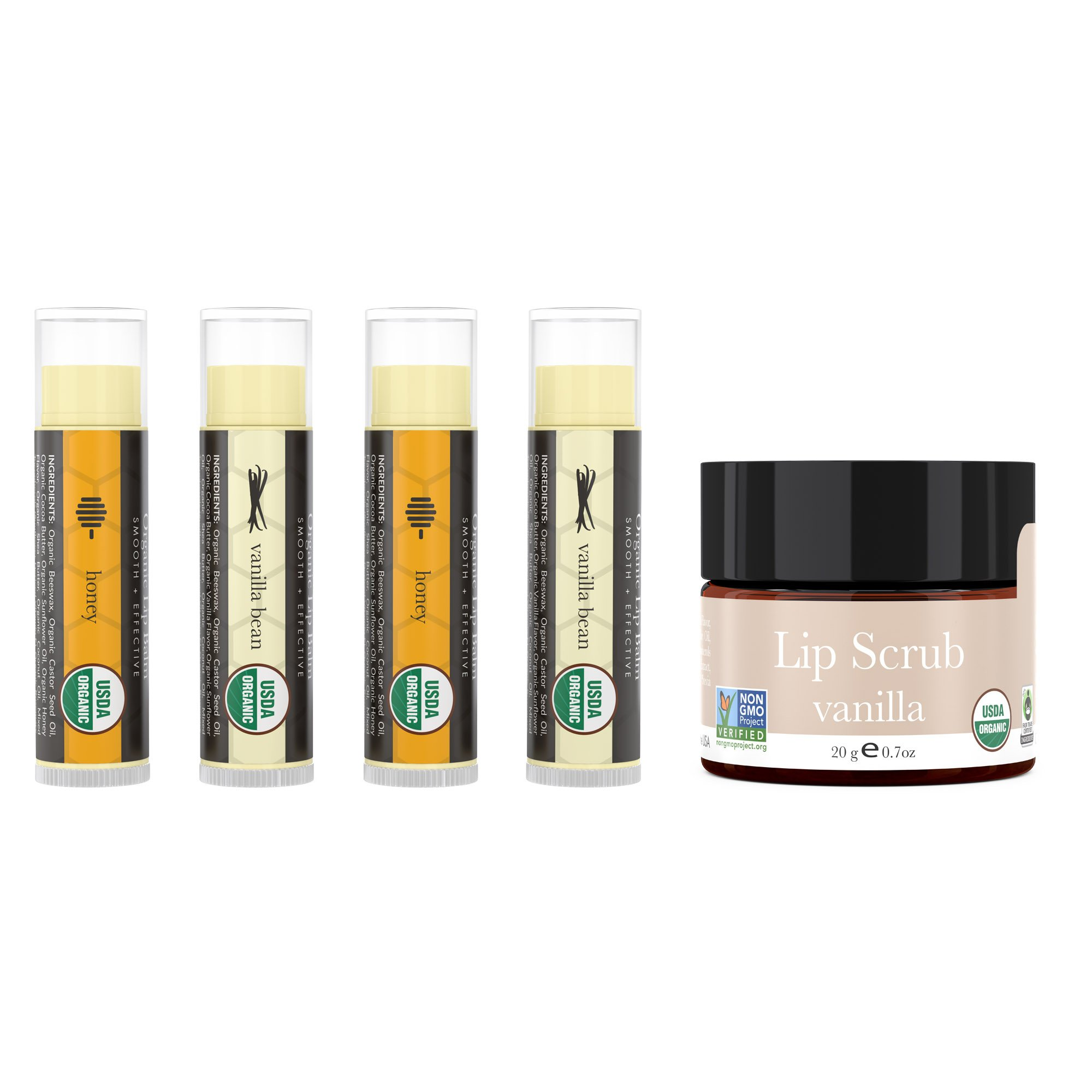 Lip Balm and Scrub Bundle - 4 Pack of Honey & Vanilla Moisturizer with Vanilla Exfoliating Sugar Scrub, Best Gift for Stocking Stuffer, Birthday or Present for Women and Girls, USDA Organic by Beauty by Earth