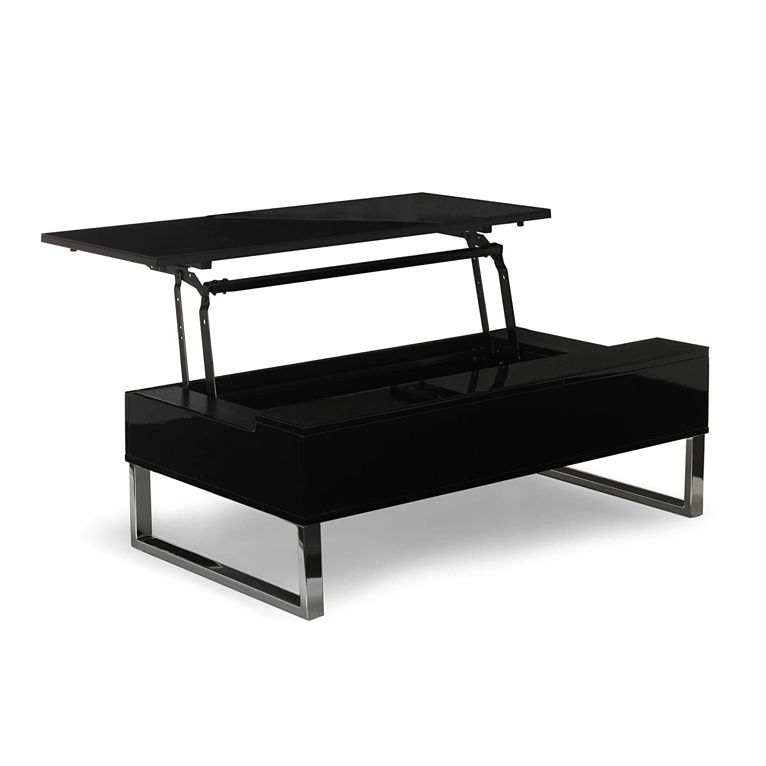 novy table basse avec tablette relevable noire noir alinea. Black Bedroom Furniture Sets. Home Design Ideas