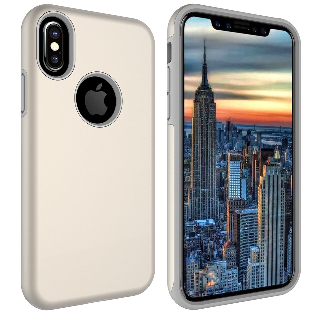iPhone X Case, MagicSky Slim Corner Protection Shock Absorption Hybrid Dual Layer Armor Defender Protective Case Cover for Apple iPhoneX - Gold
