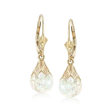 7cd54f5d5 Amazon.com: Ross-Simons Floating Opal Drop Earrings in 14kt Yellow Gold:  Jewelry