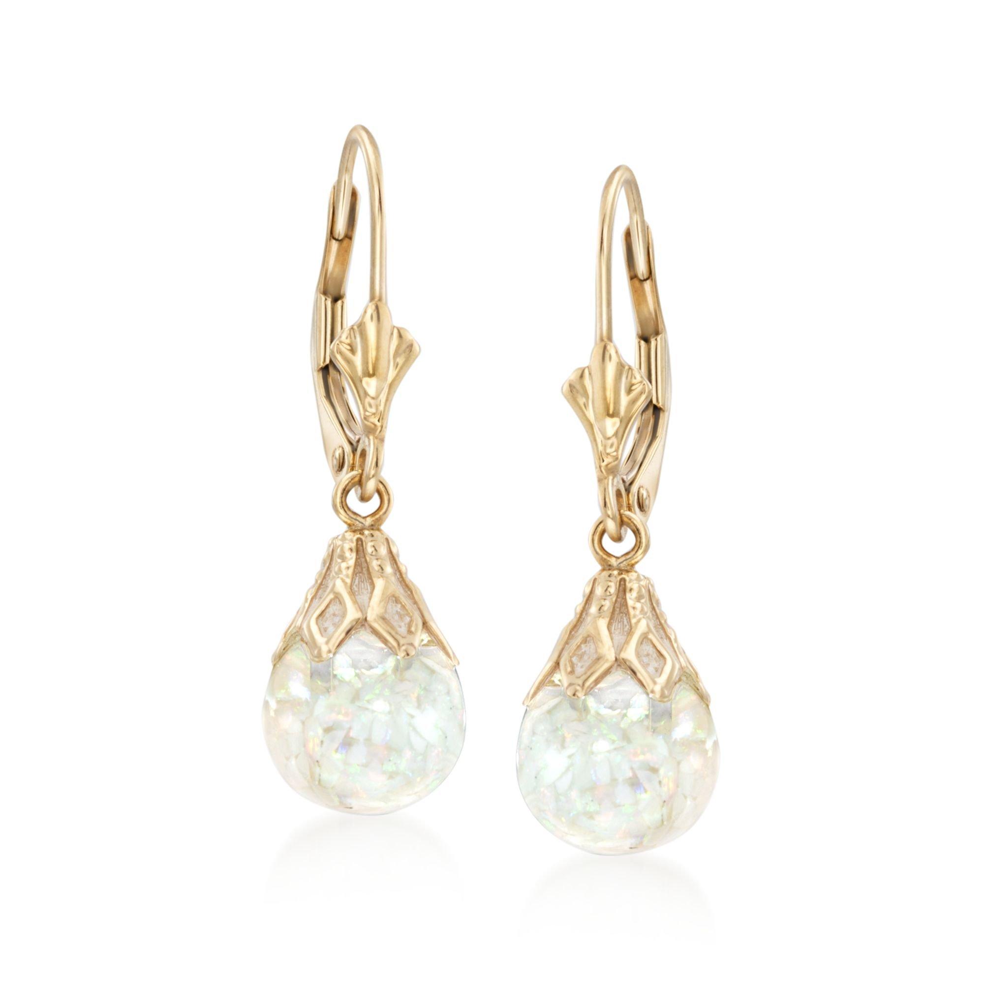 Ross-Simons Floating Opal Drop Earrings in 14kt Yellow Gold