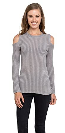 c2d7433721093 Velucci Womens Cold Shoulder Knitted Top - Long Sleeve Pullover Sweater