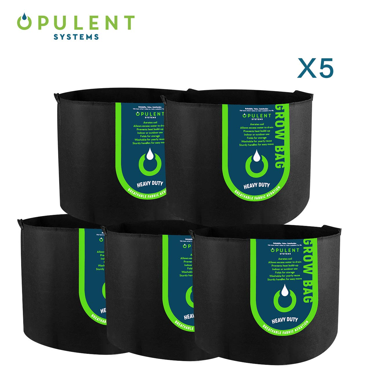OPULENT SYSTEMS 5-Pack 15 Gallon Grow Bag Heavy Duty Aeration Fabric Growing BagThickened Nonwoven Fabric Containers for Potato Plant Pots with Handles (Black)