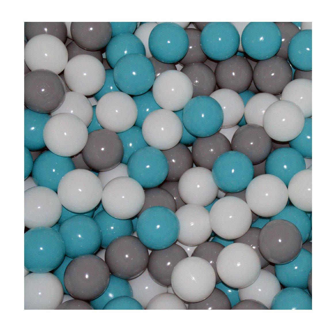 100 Bälle Ø 7cm Bälle für Bällebad viele bunte Farben Baby Kind Spielbälle Kugelbad Plastikbälle Blau Türkis Grau Pink Rosa Schwarz Weiß Grau und Weiss)