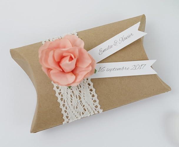 Boîte à Dragées Mariage Coussin Kraft Dentelle Fleur Pêche