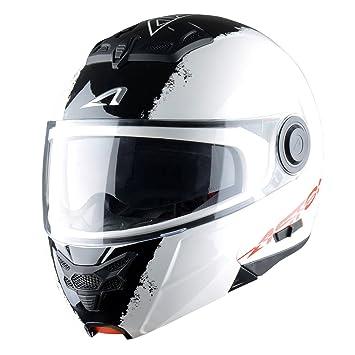 Astone Helmets, Casco modular, color Blanco (Stripes Blanc), talla S
