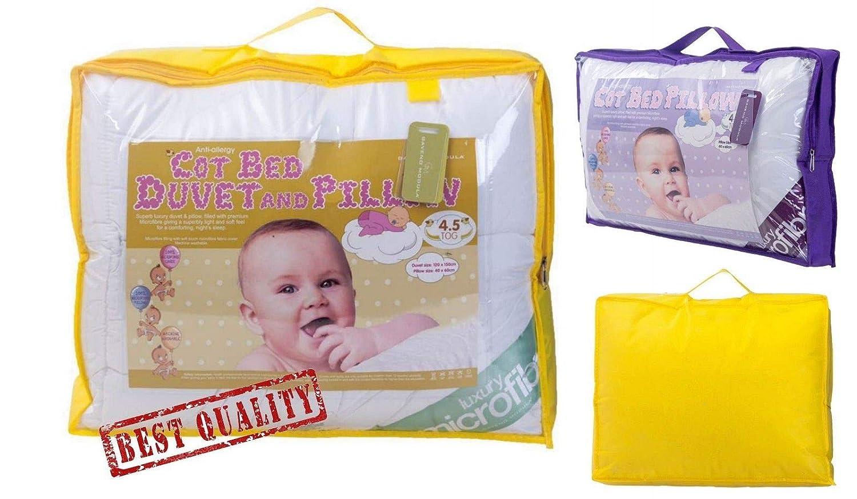 Cot Bed Duvet Only, 4.5 TOG New Microfiber Cot Bed Duvet Pillow Toddler Anti-Allergy Bed Duvet ALL TOGS Sale