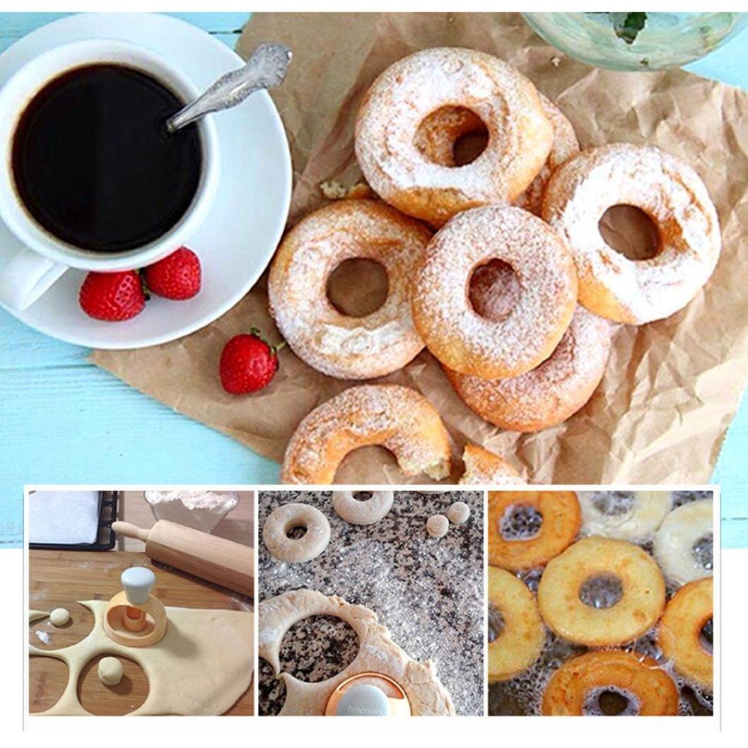 Dolloress Practical Plastic Bakery Doughnut DIY Fried Donut Maker Cutter Mold With Doughnut Clip