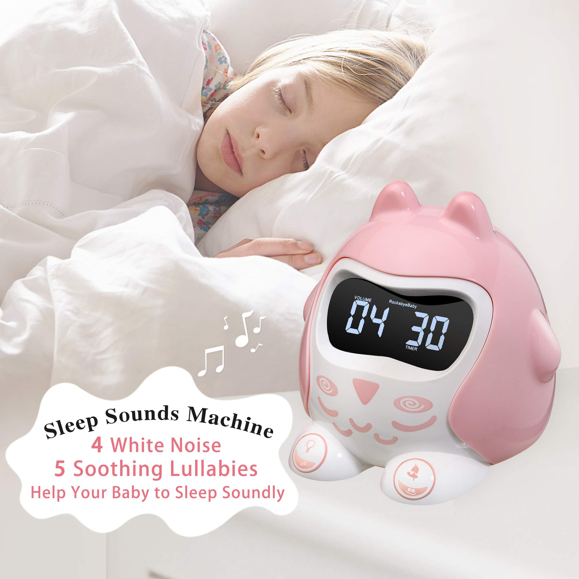 ROCAM Alarm Clock for Kids Bedrooms, Children's Sleep Trainer, Toddler Clock, Plug in Kids Alarm Clock with 7 Color Changing Night Light and Sleep Sounds Machine, Battery Operated and Nap Timer