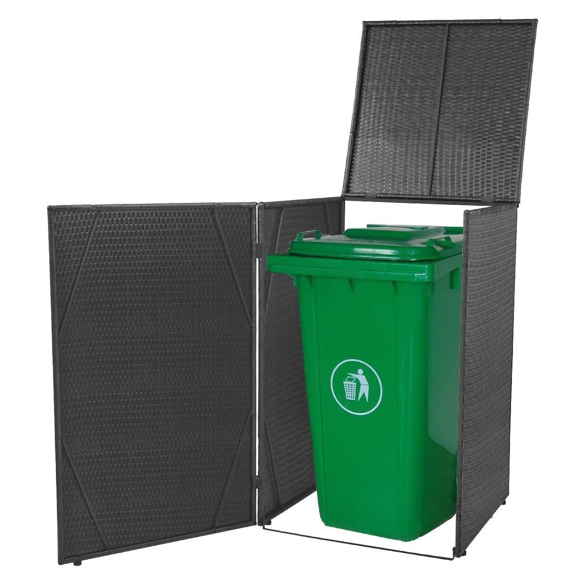 vidaXL Mülltonnenbox für 1 Tonne Poly Rattan Schwarz Mülltonnenabdeckung Müllbox