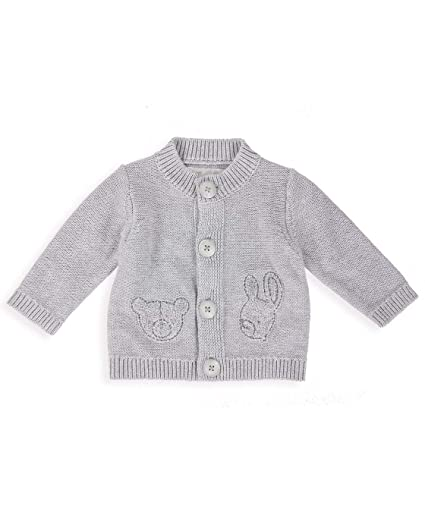 2b30256a2 The Essential One - Baby Unisex Bear and Bunny Cardigan - Grey ...