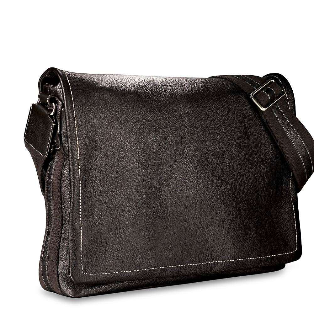 Levenger Bomber Jacket Laptop Leather Messenger - Mocha