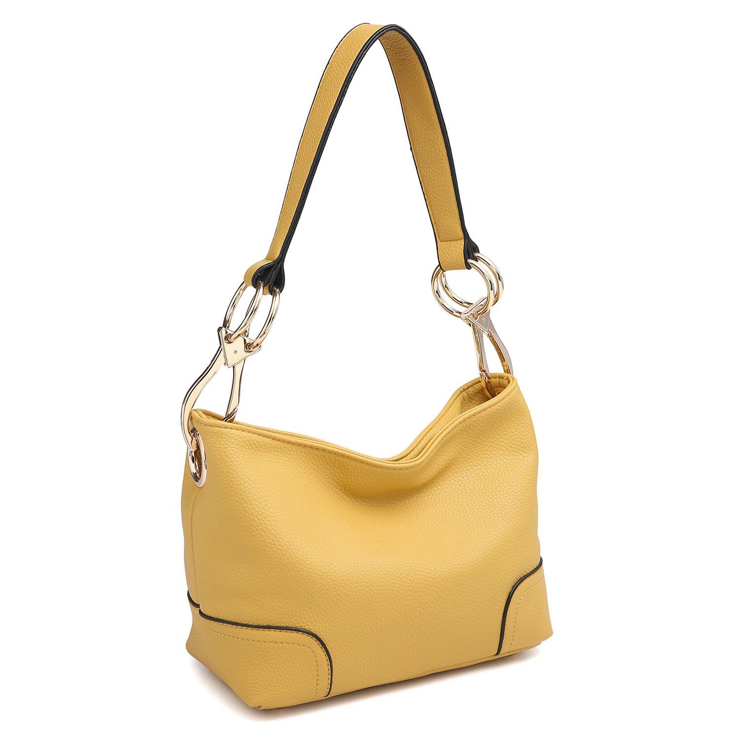 Classic Women Hobo Shoulder Bag Ladies Tote Purses Top Handle Handbag Faux Vegan Leather Mustard Yellow