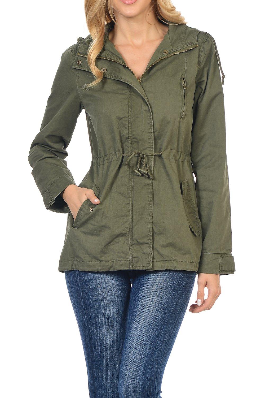 Women's Versatile Military Safari Utility Anorak Street Fashion Hoodie Jacket Olive 1X