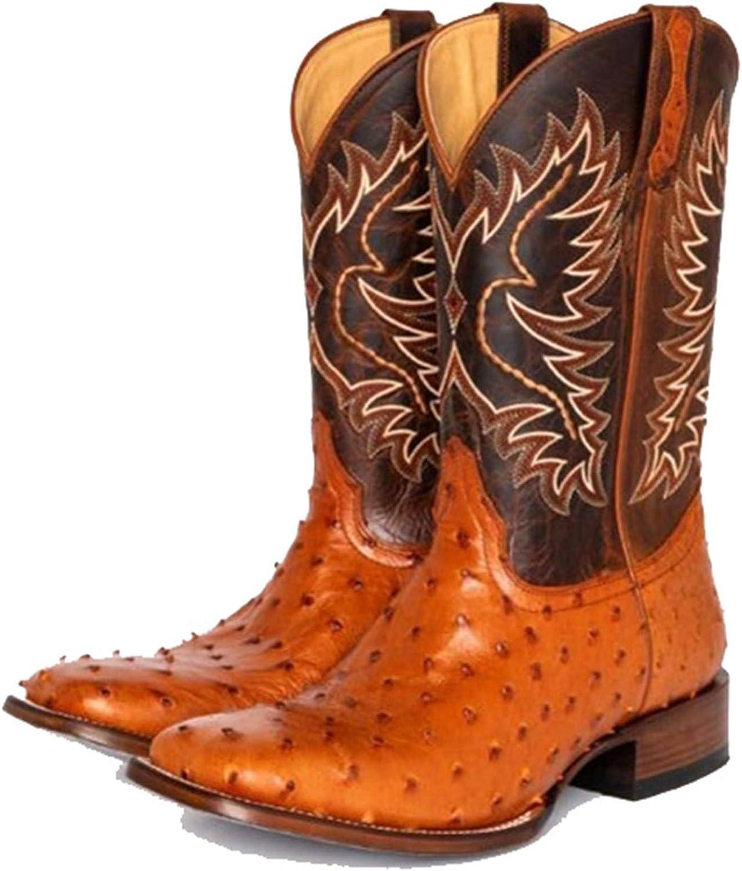 HLDJ Dedo Pie Cuadrado La Vendimia Mujeres Martin Caballo Botas Vaquero Occidental Caballero Bota Montar Zapatos Cómodos Ocasionales Costura Arranque Pantorrilla Gruesa Talón Medio,Marrón,EU38