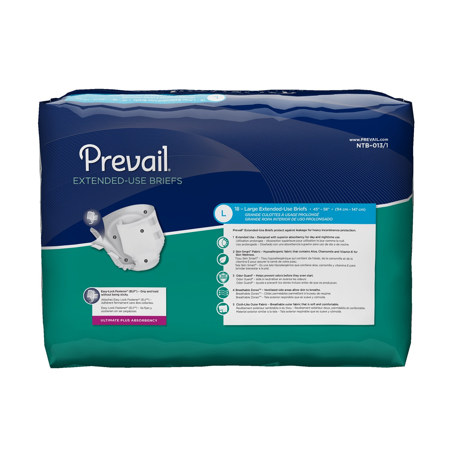 Amazon.com: Prevail Extended Use Incontinence Briefs Large 18 Count (Pack of 4) Breathable Rapid Absorption Discreet Comfort Fit Adult Diapers for Daytime ...