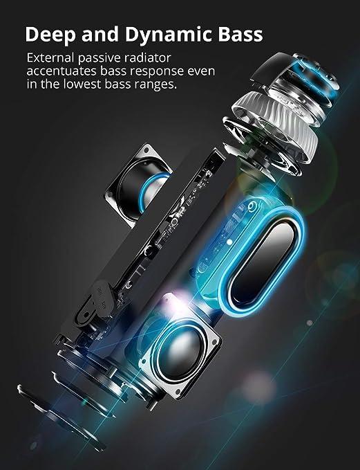 Tronsmart T6 Altavoz Bluetooth Portátil, 25W Sonido Estéreo 360° Altavoz Inalámbrico con Bajos Potentes, Micrófono, Manos Libres, y 15 Horas de ...