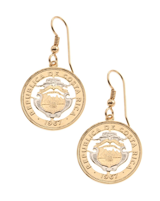 Costa Rican Coin Earrings, hand cut Costa Rican Coins, 7/8'' Diameter, ( # 544E )
