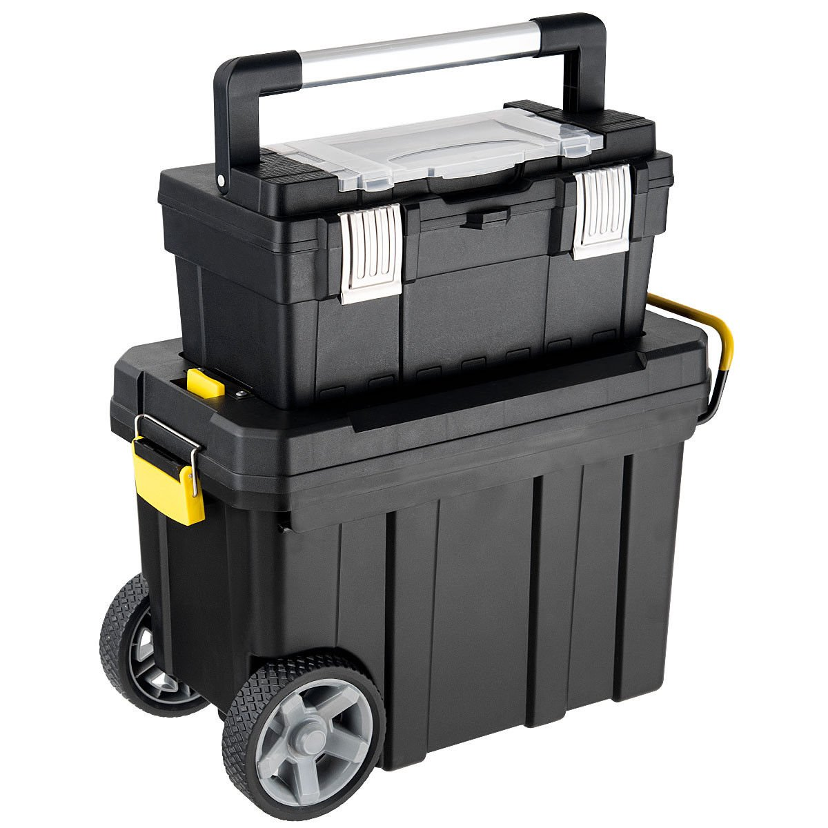 Goplus 2-in-1 Tool Box Portable Rolling Toolbox Storage Solution Multi-Purpose Plastic Organizer Set Mobile Workshop with Wheels