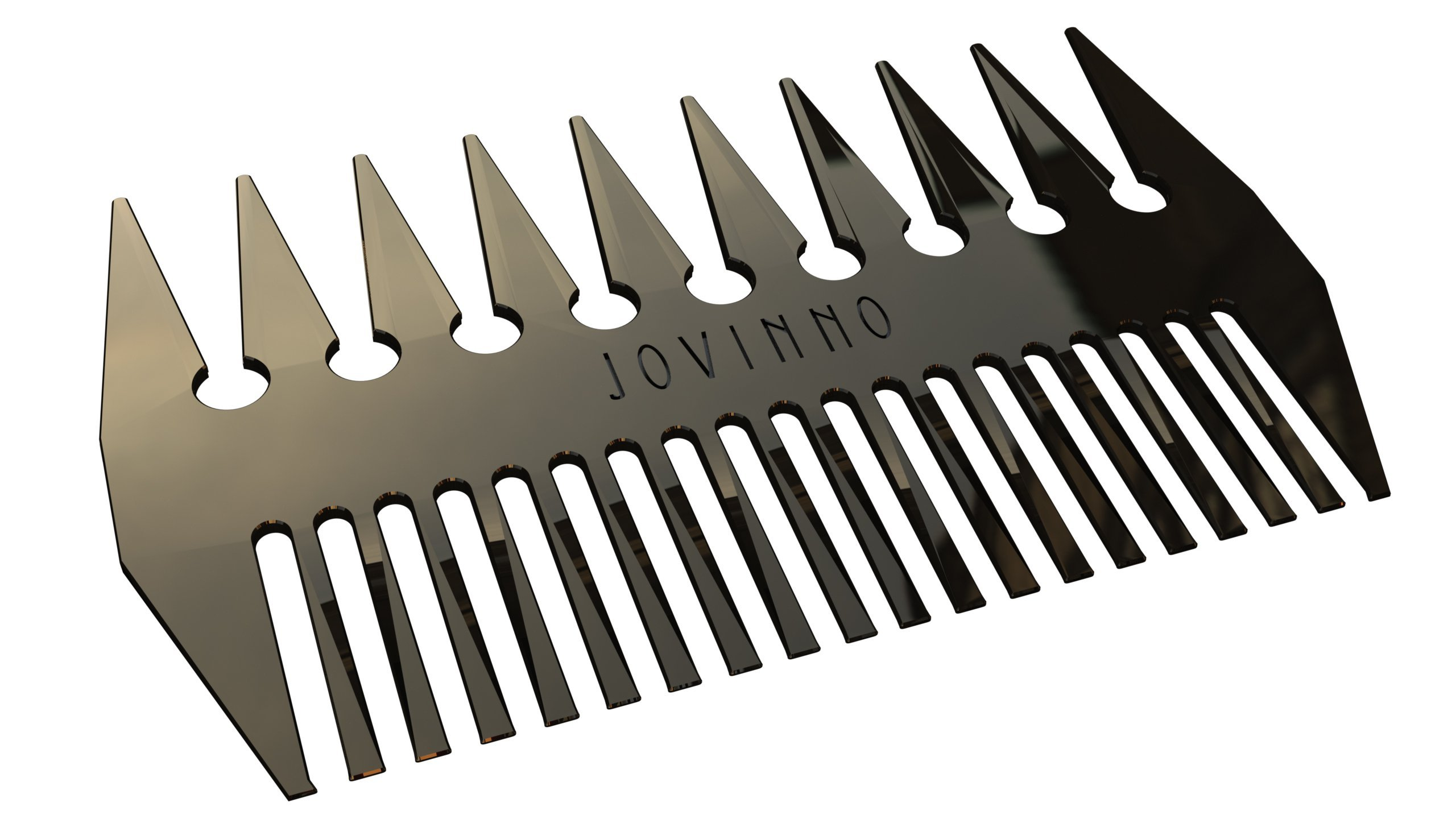 Jovinno Hair Styling Hair & Beard Comb Premium Quality Luxury All Metal Dual-Sided Wide + Fine Tooth Designed To Promote A Unique Hair Contour
