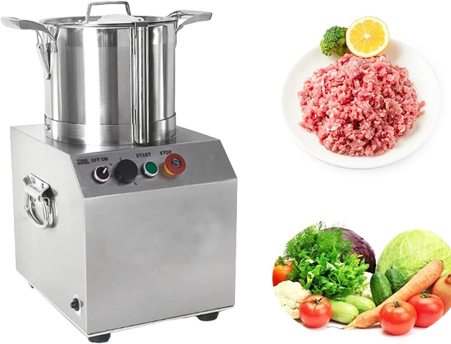 TECHTONGDA Commercial Food Processor Stainless Steel Meat Chopper Electric Vegetable Cutter 15L Multi-Function Food Grinder for Meat Fruits Vegetables Nuts and Ice Blender