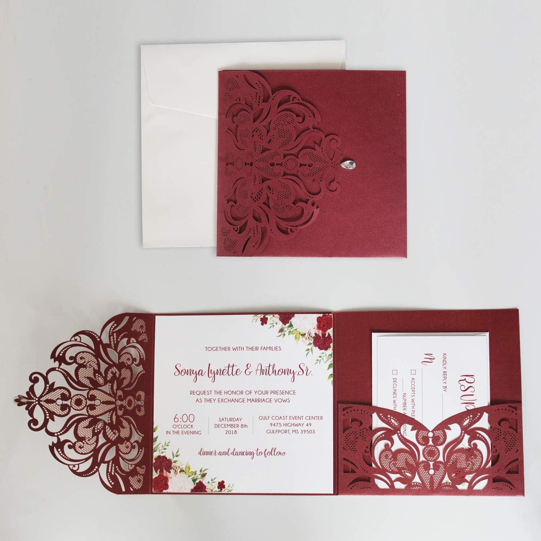 Amazon.com: Picky Bride Vintage Wedding Invitation with RSVP Cards Laser  Cut Invitations Pocket Invitation - Set of 50: Health & Personal Care
