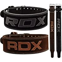 """RDX Powerlifting Belt for Weight Lifting Gym Training - Double Prong Leather Belt 10mm Thick 4"""" Lumbar Back Support - Great for Strongman Functional Strength, Bodybuilding, Deadlifts Workout & Squats"""