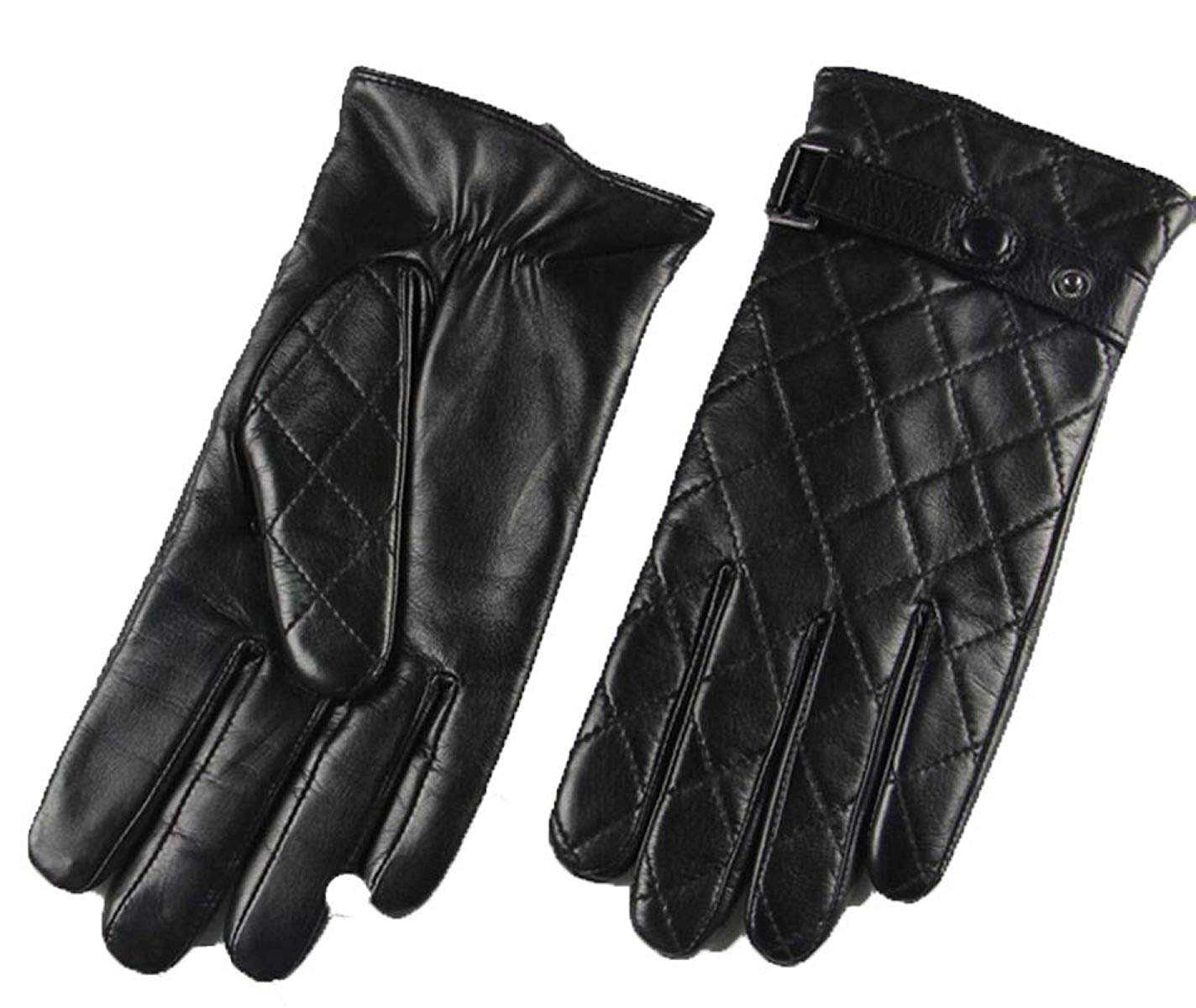 CWJ Men's Suede Leather Gloves Winter Warmth,Black,X-Large