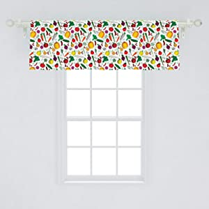 Ambesonne Colorful Window Valance, Vegetable Pattern Chilli Pepper Carrots and Turnips Cartoon Style Vegetarian Food, Curtain Valance for Kitchen Bedroom Decor with Rod Pocket, 54