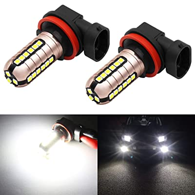 Phinlion 3000 Lumens H11 LED Fog Light Bulbs Super Bright 3030 27-SMD H8 H11 H16 LED Bulb Replacement for DRL or Fog Lamps, 6000K Xenon White: Automotive