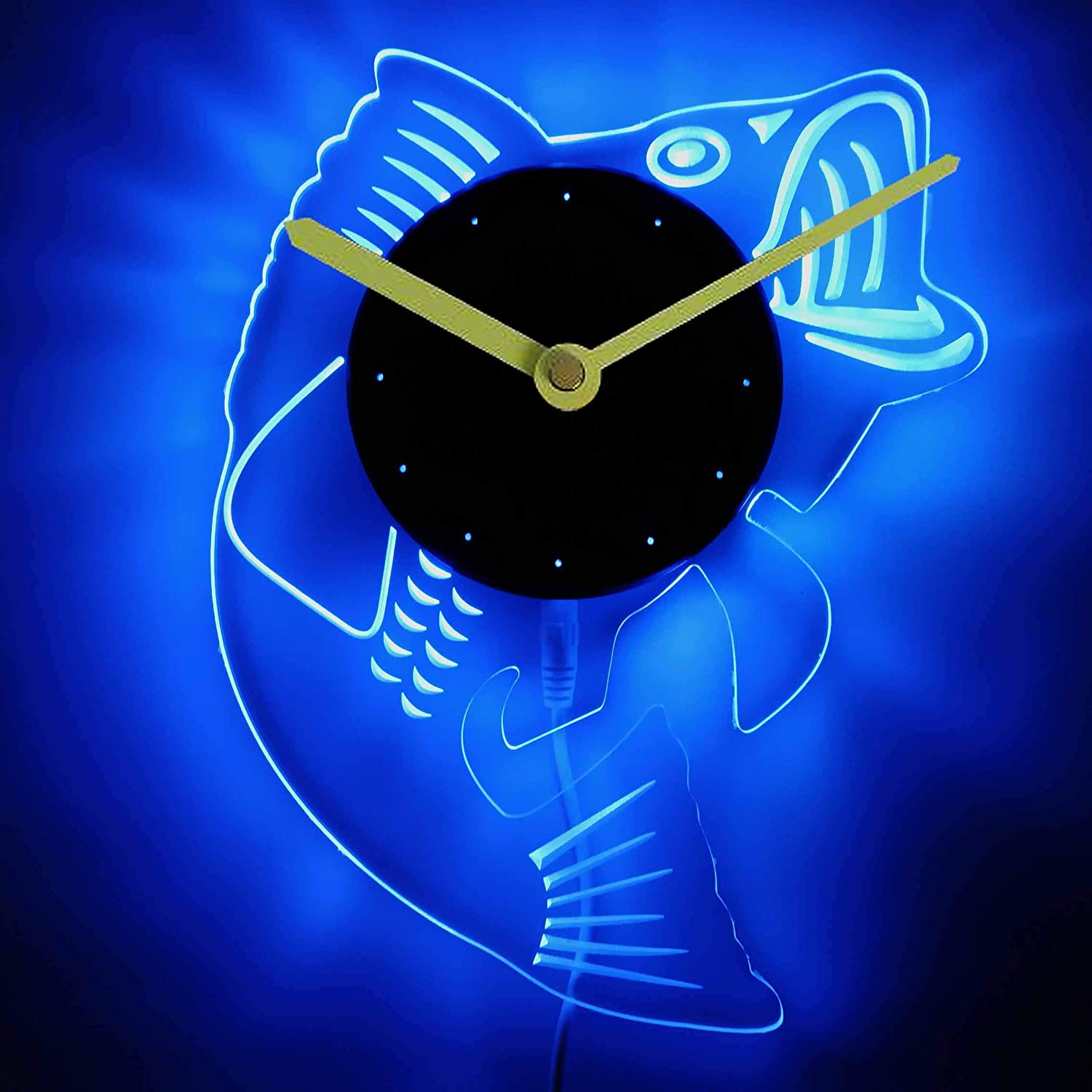 ADVPRO cnc2049-b Fish Man Cave Room Illuminated Edge Lit Bar Beer Neon Sign Wall Clock with LED Night Light
